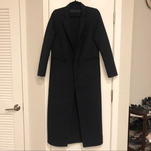 ZARA Navy Blue Long Full-Length soft wool Coat